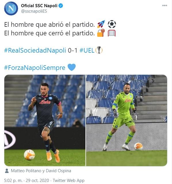 Napoli, tweet 1, David Ospina, Europa League 2020-21