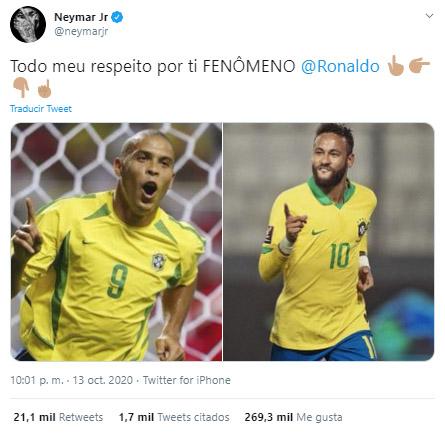 Neymar, dedicatoria, Ronaldo, Selección de Brasil, Selección de Perú, Eliminatorias Sudamericanas al Mundial de Fútbol Qatar 2022, Eliminatorias Sudamericanas Qatar 2022