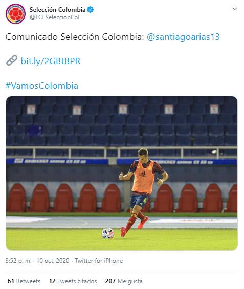 Santiago Arias, Selección Colombia, Federación Colombiana de Fútbol, comunicado oficial, Selección de Venezuela, Eliminatorias a Qatar 2022, Mundial de Fútbol Qatar 2022