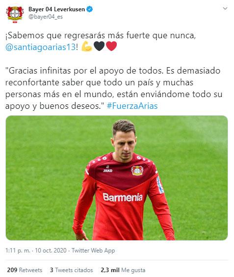 Santiago Arias, Selección Colombia, Selección de Venezuela, Eliminatorias a Qatar 2022, Mundial de Fútbol Qatar 2022, Bayer Leverkusen, tweet