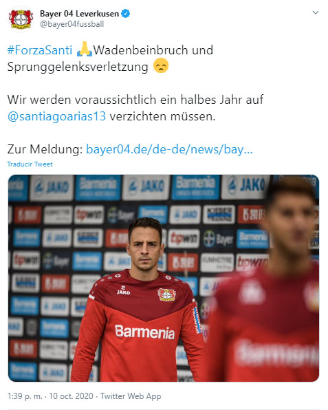 Santiago Arias, Selección Colombia, Venezuela, Eliminatorias a Qatar 2022, Bayer Leverkusen, parte médico oficial