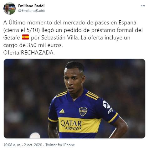 Sebastián Villa, Getafe CF, Boca Juniors, Selección Colombia, Emiliano Raddi