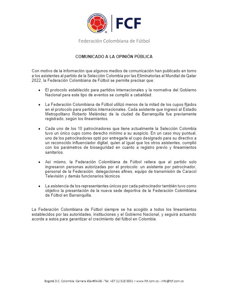 Selección Colombia, Federación Colombiana de Fútbol, comunicado oficial, Selección de Venezuela, Eliminatorias a Qatar 2022
