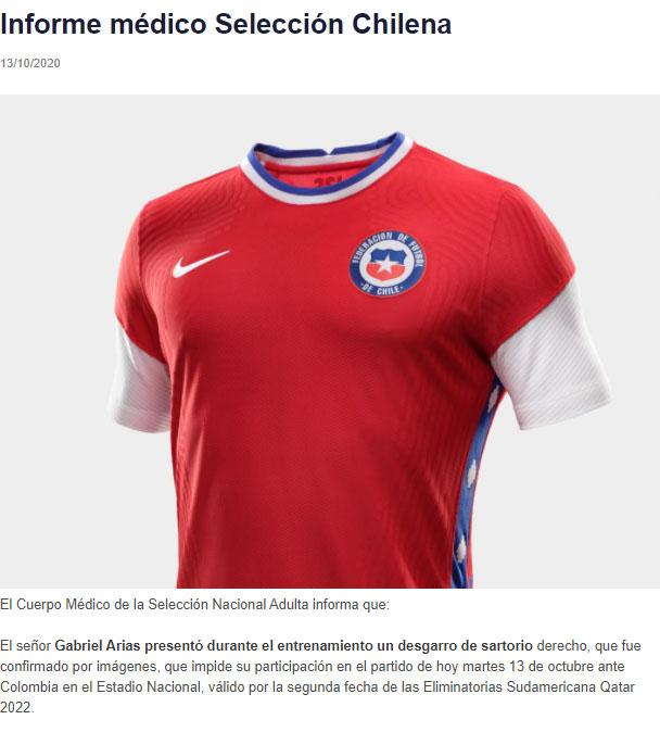 Selección Colombia, Selección de Chile, reporte médico, Gabriel Arias, Eliminatorias Sudamericanas a Qatar 2022