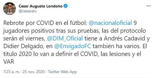 Andrés Cadavid, Didier Delgado, DIM, Deportivo Independiente Medellín, COVID-19, nuevo coronavirus, liguilla Liga BetPlay 2020, César Augusto Londoño