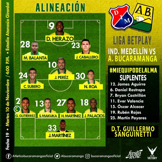 Atlético Bucaramanga, titular, DIM, Deportivo Independiente Medellín, Liga BetPlay 2020
