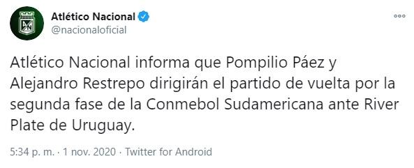Atlético Nacional, Copa Sudamericana 2020, Pompilio Páez, Alejandro Restrepo