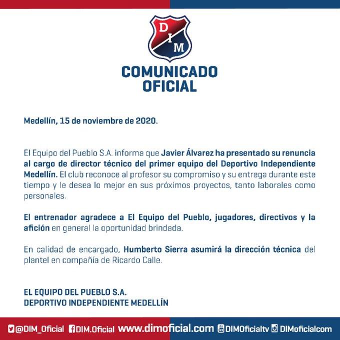 DIM, Deportivo Independiente Medellín, Javier Álvarez, renuncia
