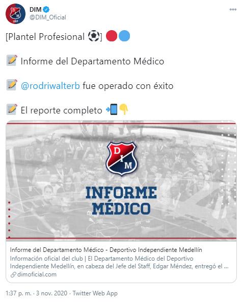 DIM, Deportivo Independiente Medellín, reporte médico, Walter Rodríguez, Bayron Garcés, Edwin Mosquera, Leonardo Castro, Liga BetPlay 2020