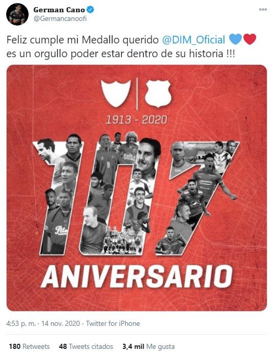 Germán Cano, DIM, Deportivo Independiente Medellín, cumpleaños 107, felicitación