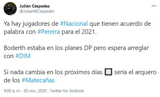 Huberth Bodhert, DIM, Deportivo Independiente Medellín, Once Caldas, Liguilla BetPlay 2020, Julián Céspedes
