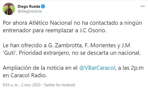 José María Gutiérrez, Guti, Atlético Nacional , Diego Rueda