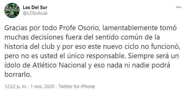 Los del Sur, Atlético Nacional, Juan Carlos Osorio