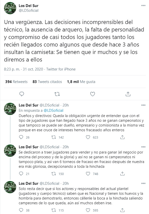 Los del Sur, Atlético Nacional, directivos