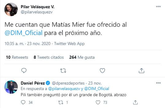 Matías Mier, Equidad Seguros, DIM, Deportivo Independiente Medellín, Liga BetPlay 2020, Pilar Velásquez, Daniel Pérez