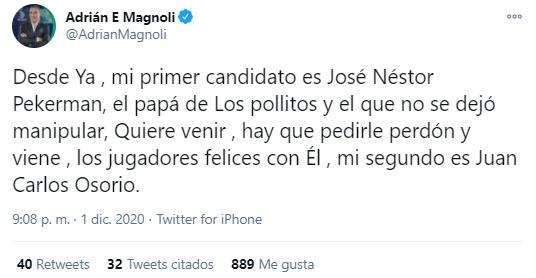 Adrián Magnoli, tweet, José Néstor Pékerman, Juan Carlos Osorio, Carlos Queiroz, Selección Colombia