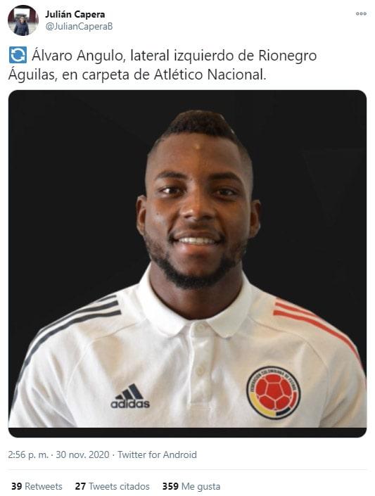 Álvaro Angulo, Rionegro Águilas, Atlético Nacional, Julián Capera