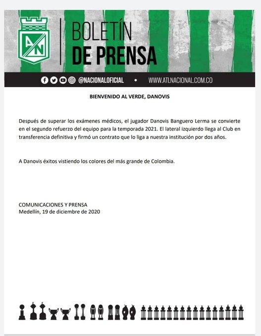 Atlético Nacional, comunicado oficial, Danovis Banguero