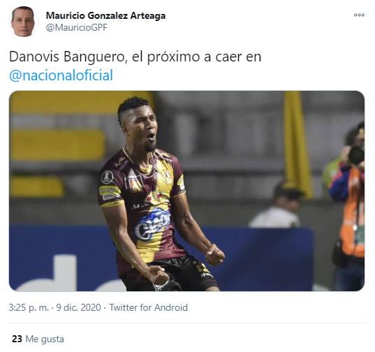 Danovis Banguero, Atlético Nacional, Deportes Tolima, Mauricio González, tweet