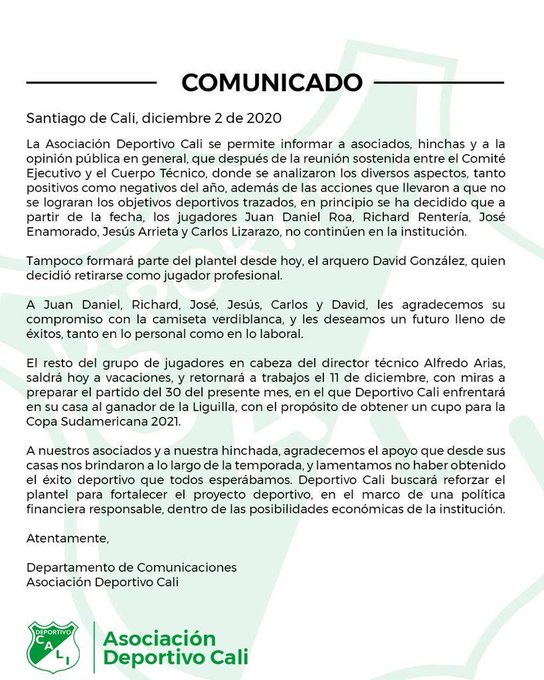 David González, Deportivo Cali, comunicado oficial, DIM, Deportivo Independiente Medellín