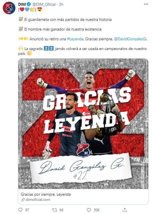 Deportivo Independiente Medellín, DIM, David González, tweet