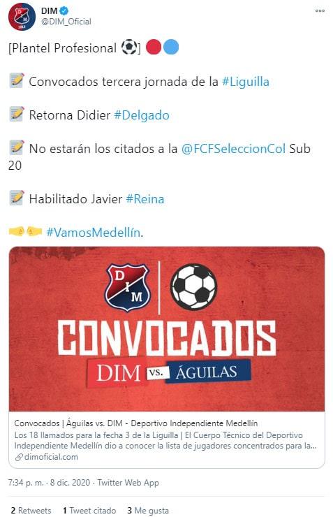 Didier Delgado, COVID-19, nuevo coronavirus, Deportivo Independiente Medellín, DIM, informe médico, Liguilla BetPlay 2020