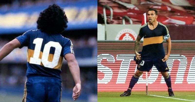 Emotivo homenaje de Carlos Tévez a Maradona en la Copa Libertadores