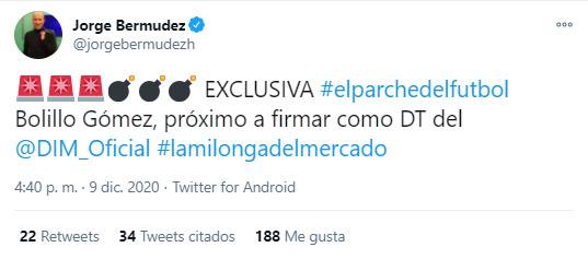 Hernán Darío 'Bolillo' Gómez, Bolillo Gómez, Hernán Darío Gómez, DIM, Deportivo Independiente Medellín, Jorge Bermúdez, tweet