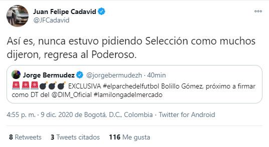 Hernán Darío 'Bolillo' Gómez, Bolillo Gómez, Hernán Darío Gómez, DIM, Deportivo Independiente Medellín, Juan Felipe Cadavid, tweet