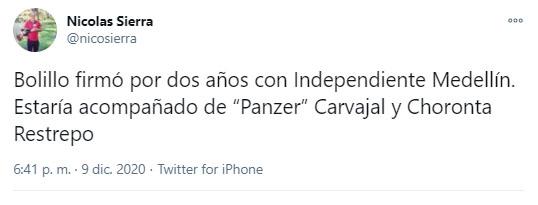 Hernán Darío 'Bolillo' Gómez, Bolillo Gómez, Hernán Darío Gómez, DIM, Deportivo Independiente Medellín, Nicolás Sierra, tweet 2