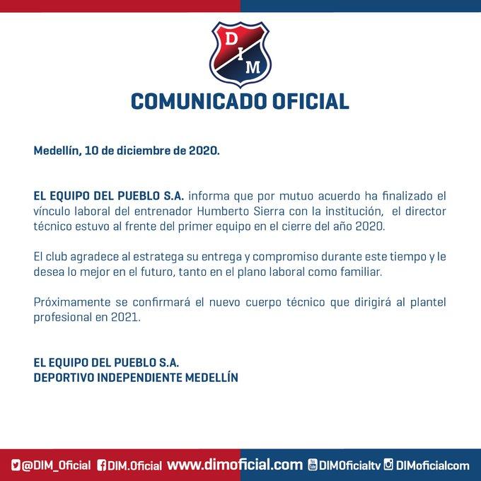 Humberto Sierra, Hernán Darío Gómez, Hernán Darío 'Bolillo' Gómez, Bolillo Gómez, DIM, Deportivo Independiente Medellín, comunicado oficial