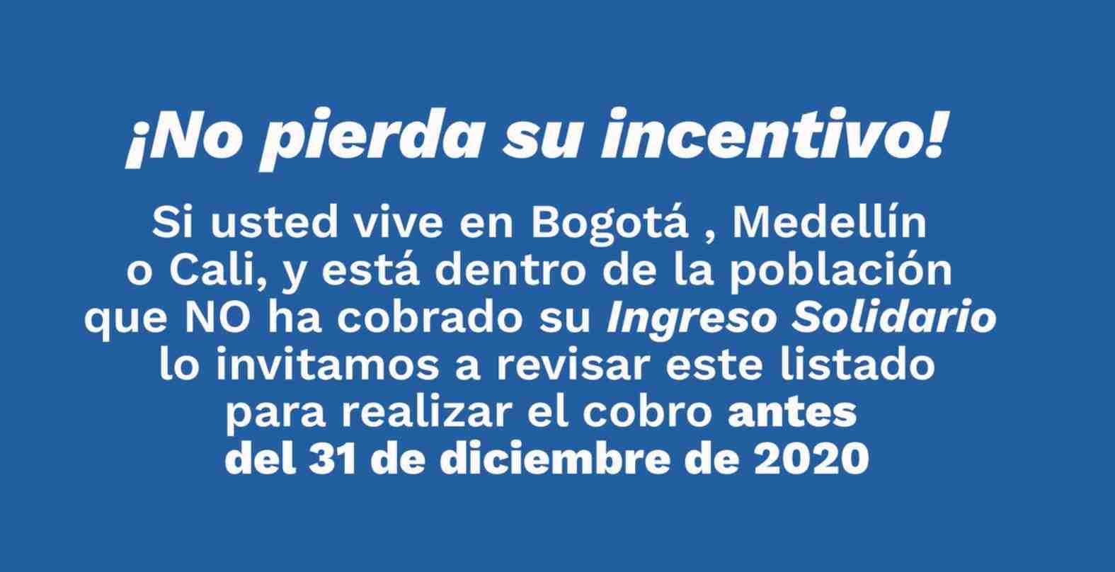 Ingreso Solidario 31 de diciembre: Mensaje Prosperidad Social