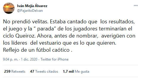 Iván Mejía Álvarez, tweet, Carlos Queiroz, Selección Colombia