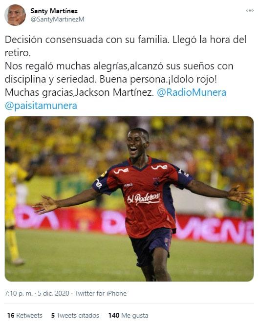 Jackson Martínez, Deportivo Independiente Medellín, DIM, Liguilla BetPlay 2020, Santy Martínez, tweet