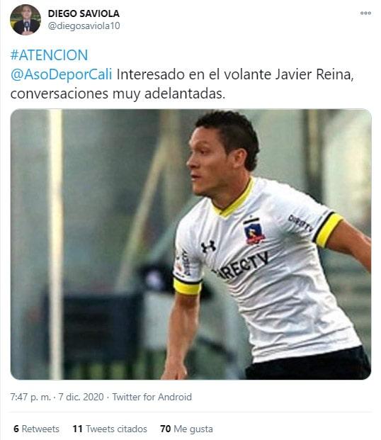 Javier Reina, Deportivo Cali, Deportivo Independiente Medellín, DIM, Diego Saviola, tweet