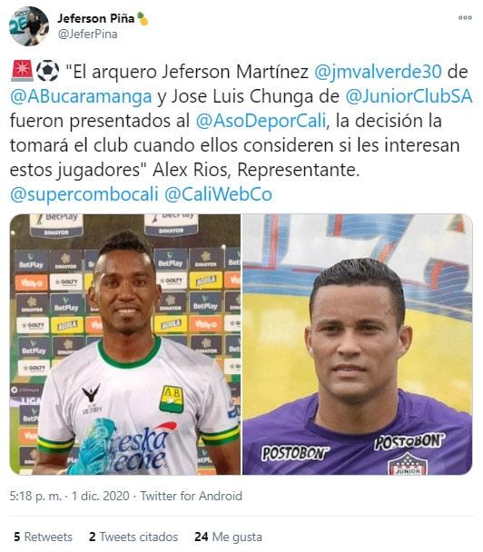 Jéfersson Martínez, Deportivo Cali, Atlético Bucaramanga, Jéferson Piña, tweet