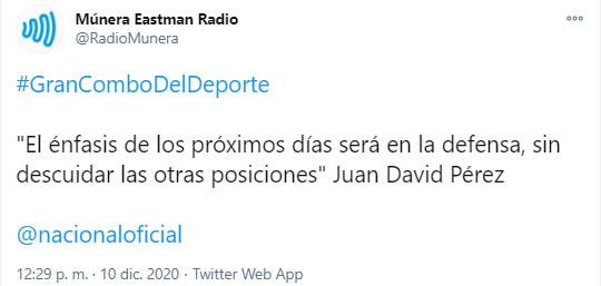 Juan David Pérez, Atlético Nacional, Múnera Eastman Radio, tweet 2