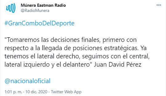 Juan David Pérez, Atlético Nacional, Múnera Eastman Radio, tweet 3