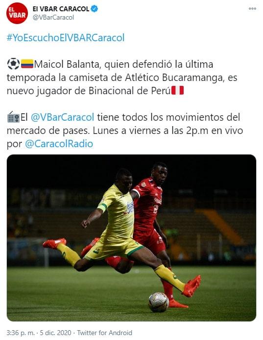 Maicol Balanta, Deportivo Binacional FC, Johan Arango, Atlético Bucaramanga, DIM, Deportivo Independiente Medellín, El VBAR