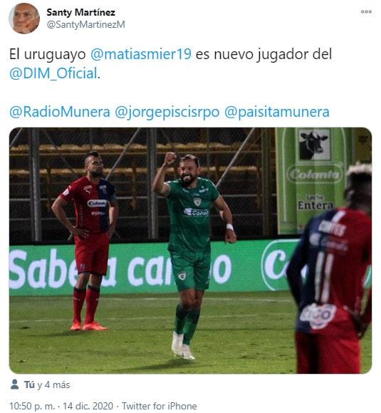 Matías Mier, Equidad Seguros, Deportivo Independiente Medellín, DIM, Santy Martínez, tweet