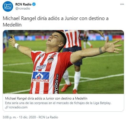 Michael Rangel, Deportivo Independiente Medellín, DIM, Junior FC, América de Cali, RCN Radio