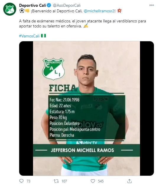 Michell Ramos, Cúcuta Deportivo, Deportivo Cali, presentación