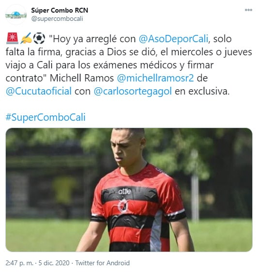 Michell Ramos, Deportivo Cali, Cúcuta Deportivo, tweet
