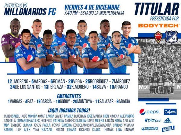 Millonarios FC, titulares, Patriotas Boyacá, Liguilla BetPlay 2020