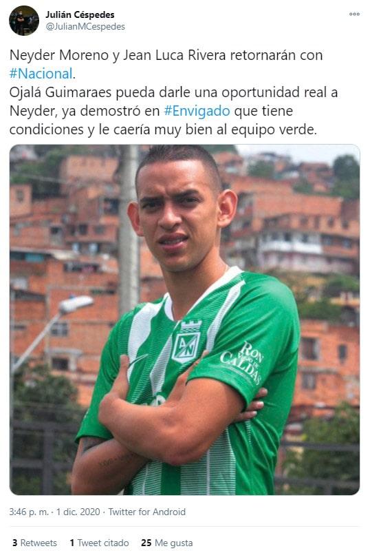 Neyder Moreno, Atlético Nacional, Envigado FC, Julián Céspedes