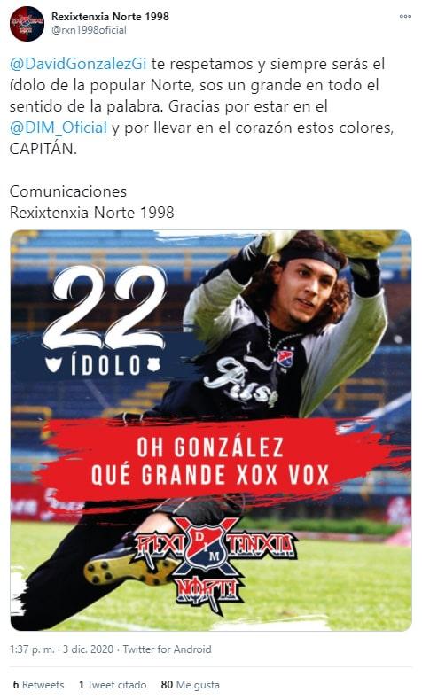 Rexixtenxia Norte, Deportivo Independiente Medellín, DIM, David González, tweet
