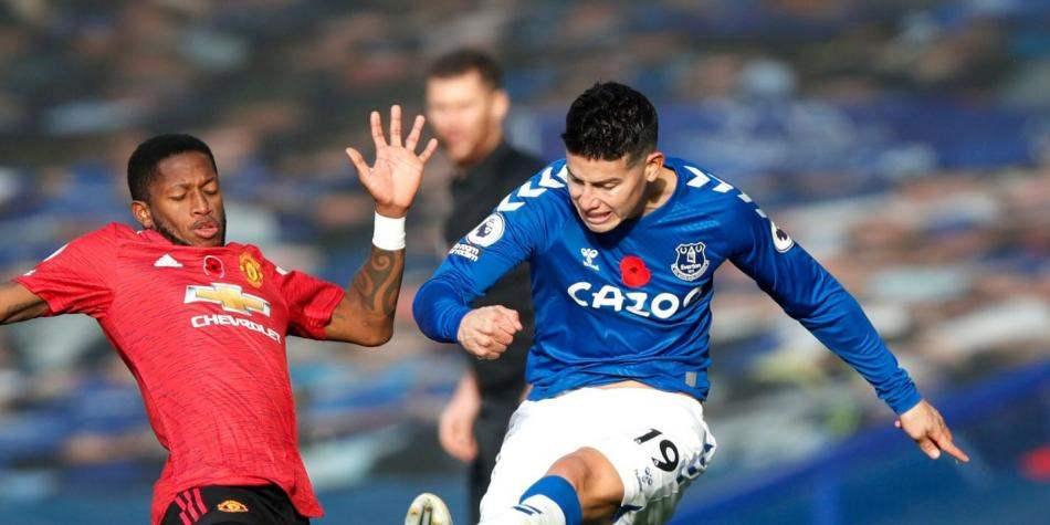 James Rodríguez vuelve a ser baja con Everton, ahora ante el Manchester United