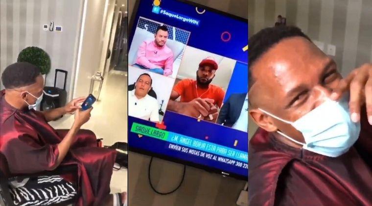 La saboteada de Yerry Mina a Miguel Borja en una entrevista en vivo de Win Sports