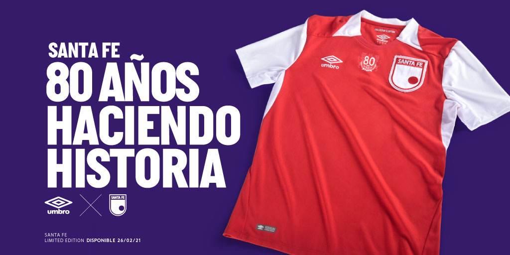 Umbro dio a conocer la camiseta conmemorativa de Santa Fe por sus 80 años de historia