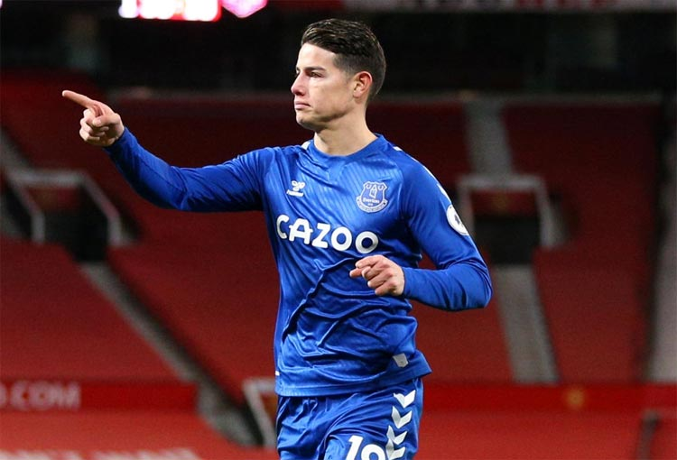 James Rodríguez hoy: Everton y la titular ante Fulham